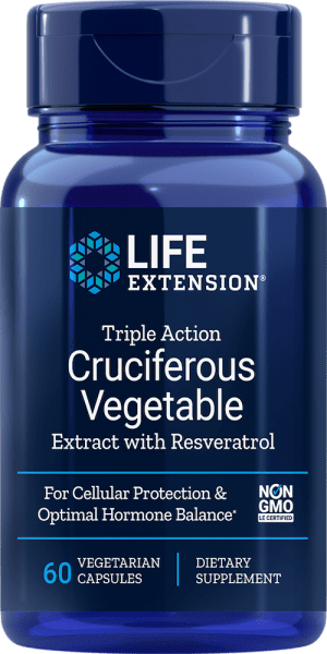 triple action cruciferous vegetable extract resveratrol hormone balance cellular protection