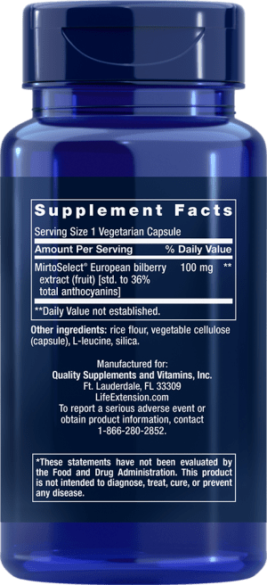 bilberry extract visual acuity vegetarian supplements ingredients